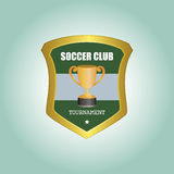 Soccer. Isolated heraldry shield with text and a trophy. Vector illustration Royalty Free Stock Photos