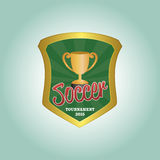 Soccer. Isolated heraldry shield with a trophy and text. Vector illustration Royalty Free Stock Photos