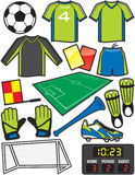 Soccer Items. Items/Equipment used in the sport of American soccer or football Royalty Free Stock Photo