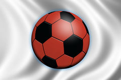 Soccer in Japan. Soccer ball and national flag of Japan Royalty Free Stock Images