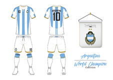 Soccer jersey or football kit. Argentin football national team. Football logo with house flag. Front and rear view soccer uniform. Stock Image