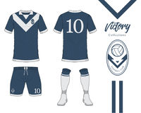 Soccer jersey or football kit collection in Victory concept. Football shirt mock up. Front and back view soccer uniform. Royalty Free Stock Images