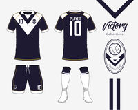 Soccer jersey or football kit collection in Victory concept. Football shirt mock up. Front and back view soccer uniform. Football logo in flat design. Vector Royalty Free Stock Image