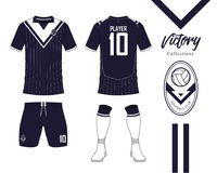 Soccer jersey or football kit collection in Victory concept. Football shirt mock up. Front and back view soccer uniform. Royalty Free Stock Photo