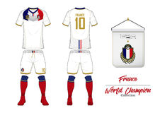 Soccer jersey or football kit. France football national team. Football logo with house flag. Front and rear view soccer uniform. Royalty Free Stock Images