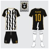 Set of soccer kit or football jersey template. Flat football logo. Front and back view soccer uniform. Vector. Soccer jersey or football kit, short, sock Stock Photography
