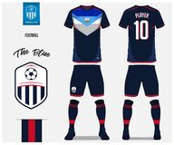 Soccer jersey or football kit, shorts, sock, template design for soccer club. Sport t-shirt mock up. Front and back view uniform. royalty free illustration
