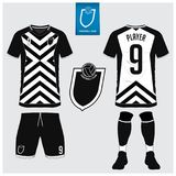 Soccer jersey or football kit template for football club. Short sleeve football shirt mock up. Front and back view soccer uniform. Soccer jersey, football kit Stock Images
