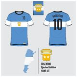 Soccer jersey or football kit, template for Argentina National Football Team. Flat football logo on Argentina flag label. Stock Image