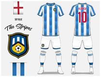 d5ae7e42e Soccer jersey or football kit template for football club. Blue and white  stripe football shirt