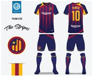 Soccer jersey or football kit template for football club. Red and blue stripe football shirt with sock and blue shorts mock up. Front and back view soccer vector illustration