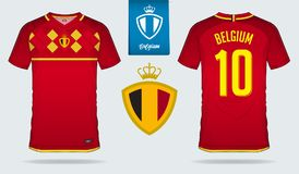 Soccer jersey or football kit template design for Belgium national football team. Front and back view soccer uniform. Stock Image