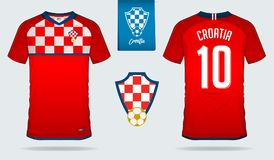Soccer jersey or football kit template design for Croatia national football team. Front and back view soccer uniform. Royalty Free Stock Images