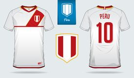 Soccer jersey or football kit template design for Peru national football team. Front and back view soccer uniform. Royalty Free Stock Photo
