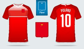 Soccer jersey or football kit template design for Poland national football team. Front and back view soccer uniform. Royalty Free Stock Photography