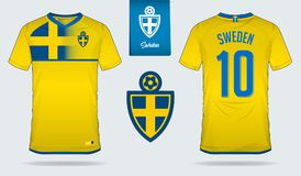 Soccer jersey or football kit template design for Sweden national football team. Front and back view soccer uniform. Stock Images