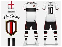 261aff547 Soccer Jersey Or Football Kit Template For Football Club. Black And White Stripe  Football Shirt With Sock And Short Mock Up. Stock Vector - Illustration of  ...