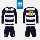 Soccer jersey or football kit template for football club. Football shirt mock up. Front and back view soccer uniform. Set of long sleeve soccer jersey or Stock Photography