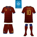 Soccer jersey or football kit template for football club. Football shirt mock up. Front and back view soccer uniform. Set of short sleeve soccer jersey or royalty free illustration