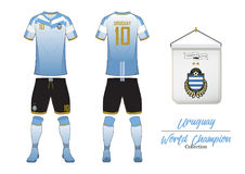 Soccer jersey or football kit. Uruguay football national team. Football logo with house flag. Front and rear view soccer uniform. Soccer jersey or football kit Royalty Free Stock Image