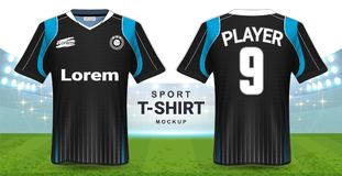 Soccer Jersey and Sportswear T-Shirt Mockup Template, Realistic Graphic Design Front and Back View for Football Kit Uniforms. Easy Possibility to Apply Your vector illustration