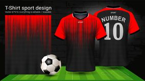 Soccer jersey and t-shirt sport mockup template, Graphic design for football kit or activewear uniforms