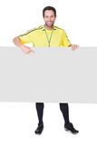 Soccer judge presenting empty banner Stock Photography