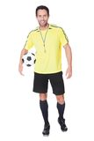 Soccer judge standing with ball Royalty Free Stock Images