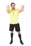 Soccer judge whistling Stock Images