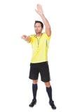 Soccer judge whistling Stock Image