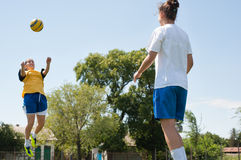 Soccer jumping Royalty Free Stock Photography