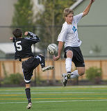 Soccer jumping high royalty free stock photography