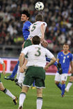 Soccer jumping tackle Stock Images