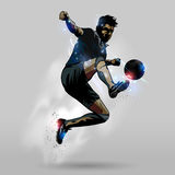 Soccer jumping touch ball 02. Soccer player in action jumping touch ball design Stock Image