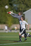 Soccer Keeper 1. October 07, 2008 Oregon High School Boys Varsity Soccer. Hillsboro's Century High school V Wilsonville High School. Keeper reaches for the ball stock image