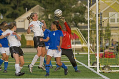 Soccer Keeper block. September 17, 2008 Oregon High School Girls Varsity Soccer. Hillsboro's HillHi Spartans V Century High school. Hill Hi goalie/keeper royalty free stock images