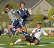 Soccer keeper trip. October 07, 2008 Oregon High School Boys Varsity Soccer. Hillsboro's Century High school V Wilsonville High School. Wilsonville keeper trips stock photography