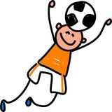 Soccer kid. Happy little boy reaching to head but a soccer ball - toddler art series Stock Photography