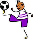 Soccer kid. Happy little ethnic boy balancing a soccer ball on his foot - toddler art series Stock Image