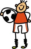 Soccer kid. Happy little boy holding a soccer ball under his arm - toddler art series Stock Photo