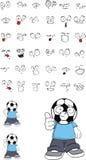Soccer kid cartoon expressions set2 Royalty Free Stock Photos