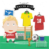 Soccer kid character  Royalty Free Stock Photography
