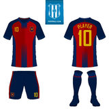 Soccer kit or football jersey template for football club. Short sleeve football shirt mock up. Front and back view soccer uniform. Stock Images