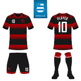 Soccer kit or football jersey template for football club. Short sleeve football shirt mock up. Front and back view soccer uniform. Set of soccer kit or football Royalty Free Stock Photography