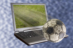Soccer in the laptop 1 Stock Photo