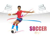 Soccer league concept with footballer kicking soccer ball on col Stock Photography