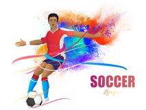 Soccer league concept with footballer kicking soccer ball on col Stock Photo