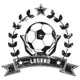 Soccer legend. Vintage soccer poster in black and white Stock Photo