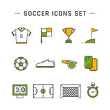 Soccer line icons Royalty Free Stock Photography