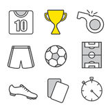 Soccer linear icons set Stock Photography